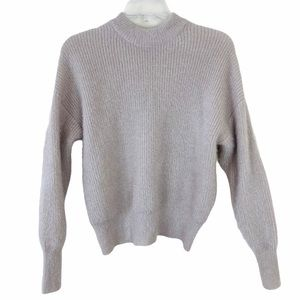 NEW AMISU Crop Knit Sweater Oatmeal & Gold Specks